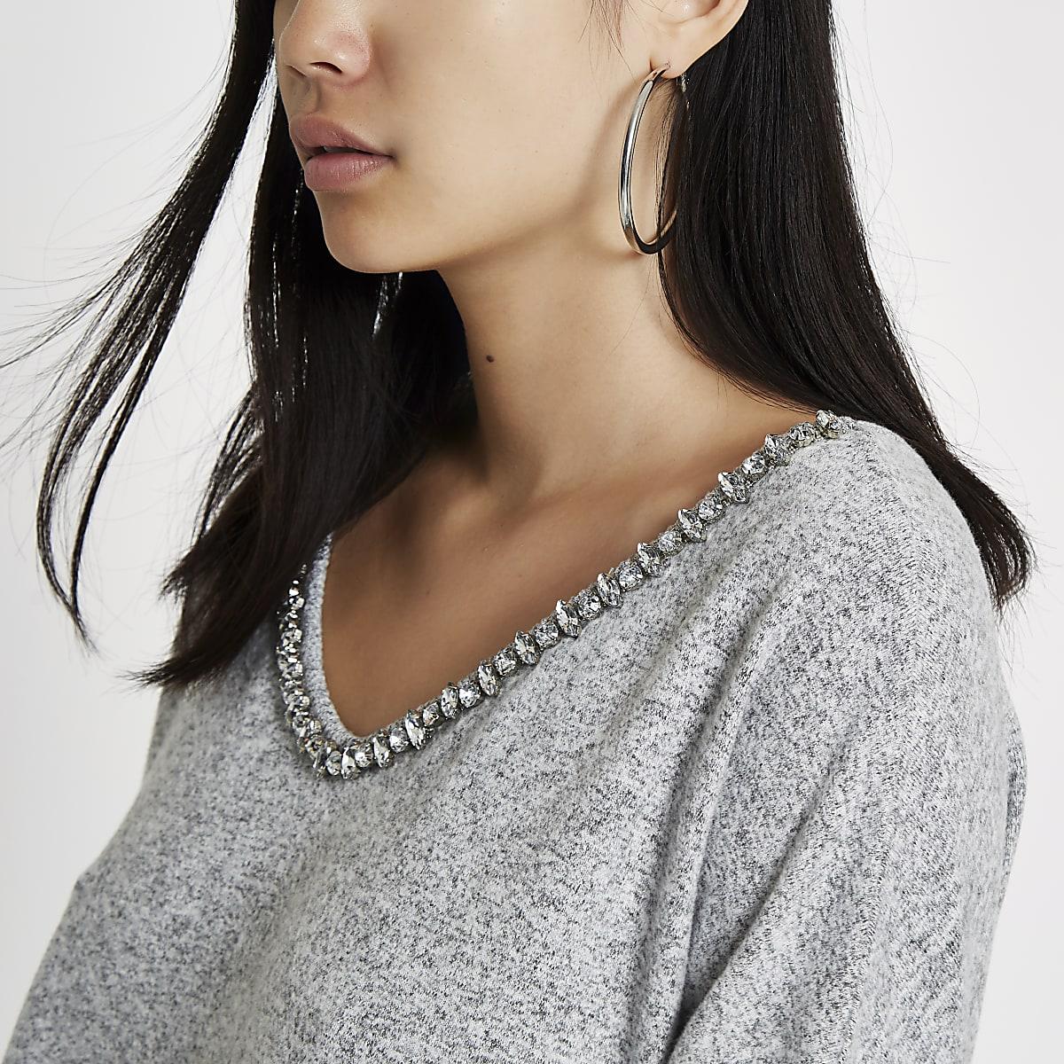 Grey jewel embellished V neck top