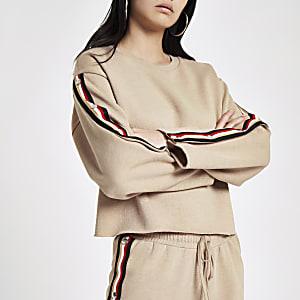 Beige tape popper side sweatshirt