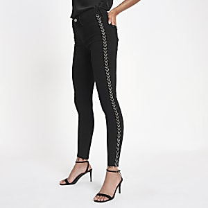 Black Molly woven side stripe jeggings
