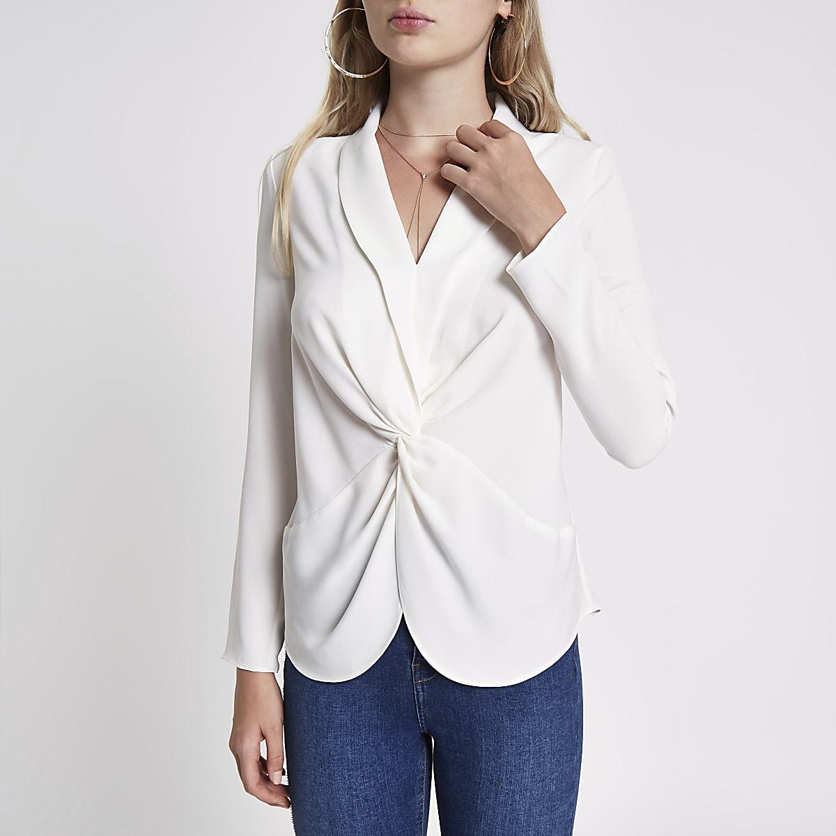 Crème gedraaide blouse met lange mouwen