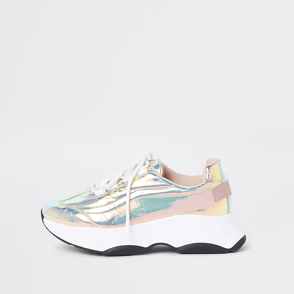 Iridescent chunky lace-up trainers