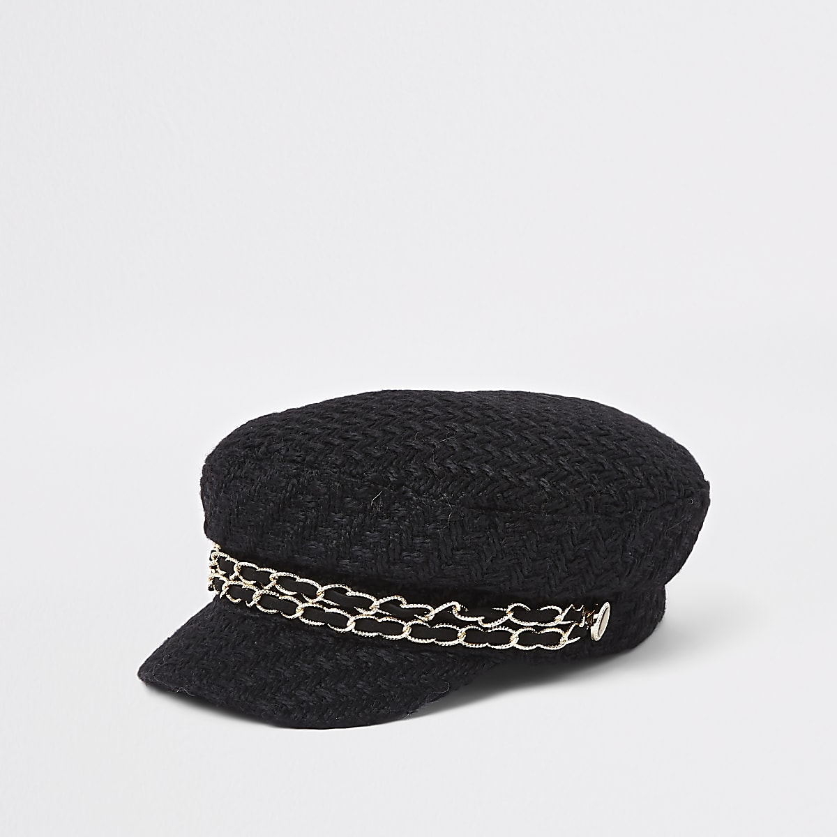 Black double chain baker boy hat