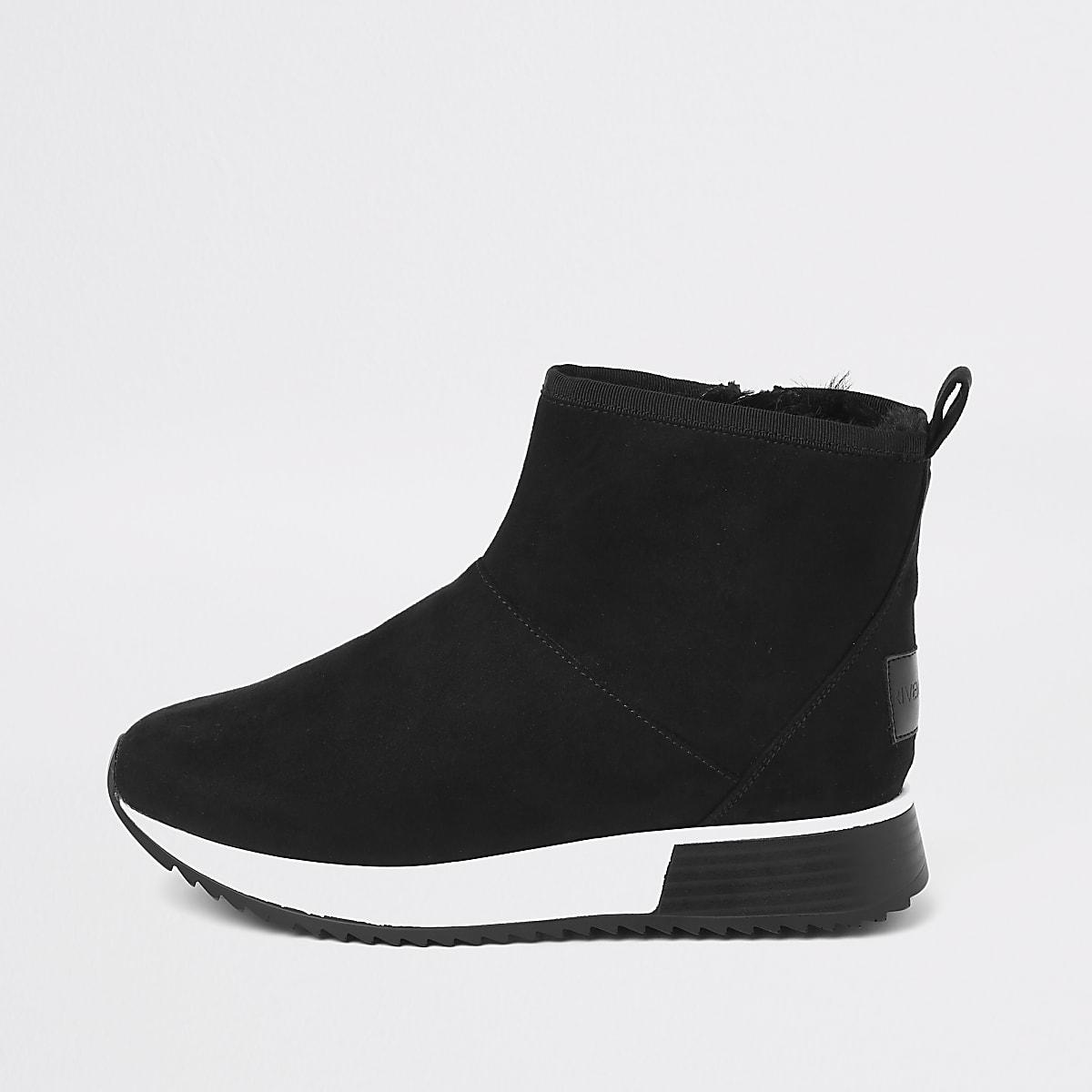 791626b9cd434 Black faux fur trim hi-top runner trainers - Trainers - Shoes & Boots -  women