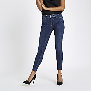 Petite mid wash blue Molly skinny jeggings