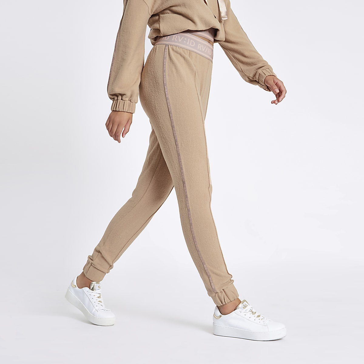 Beige RVID tape jogging bottoms