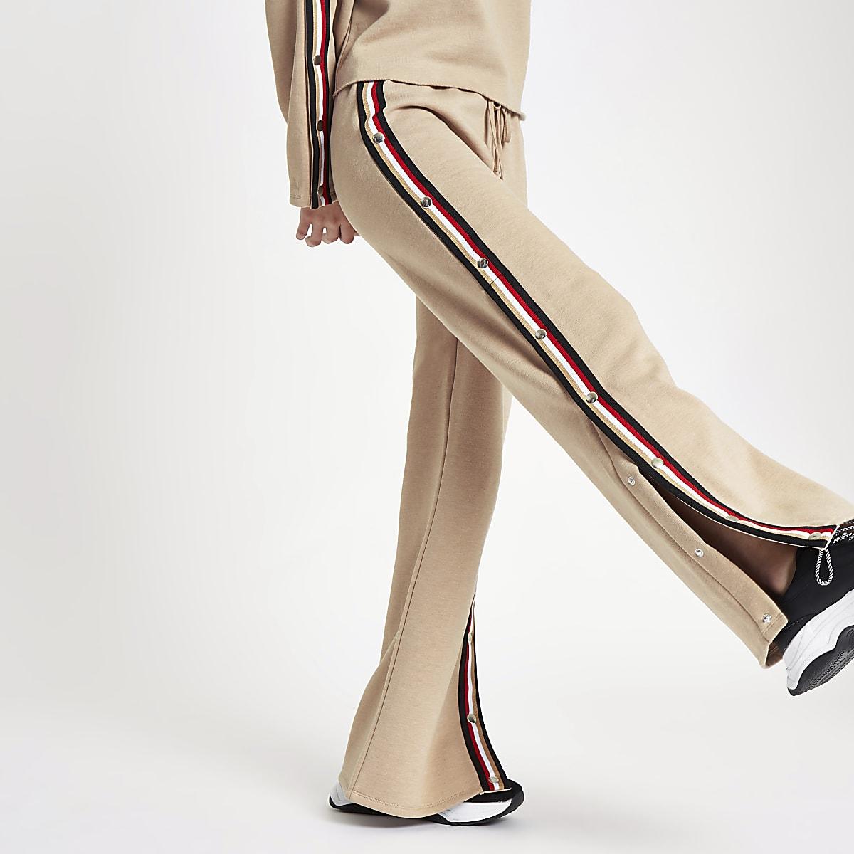 Beige tape popper side wide leg joggers