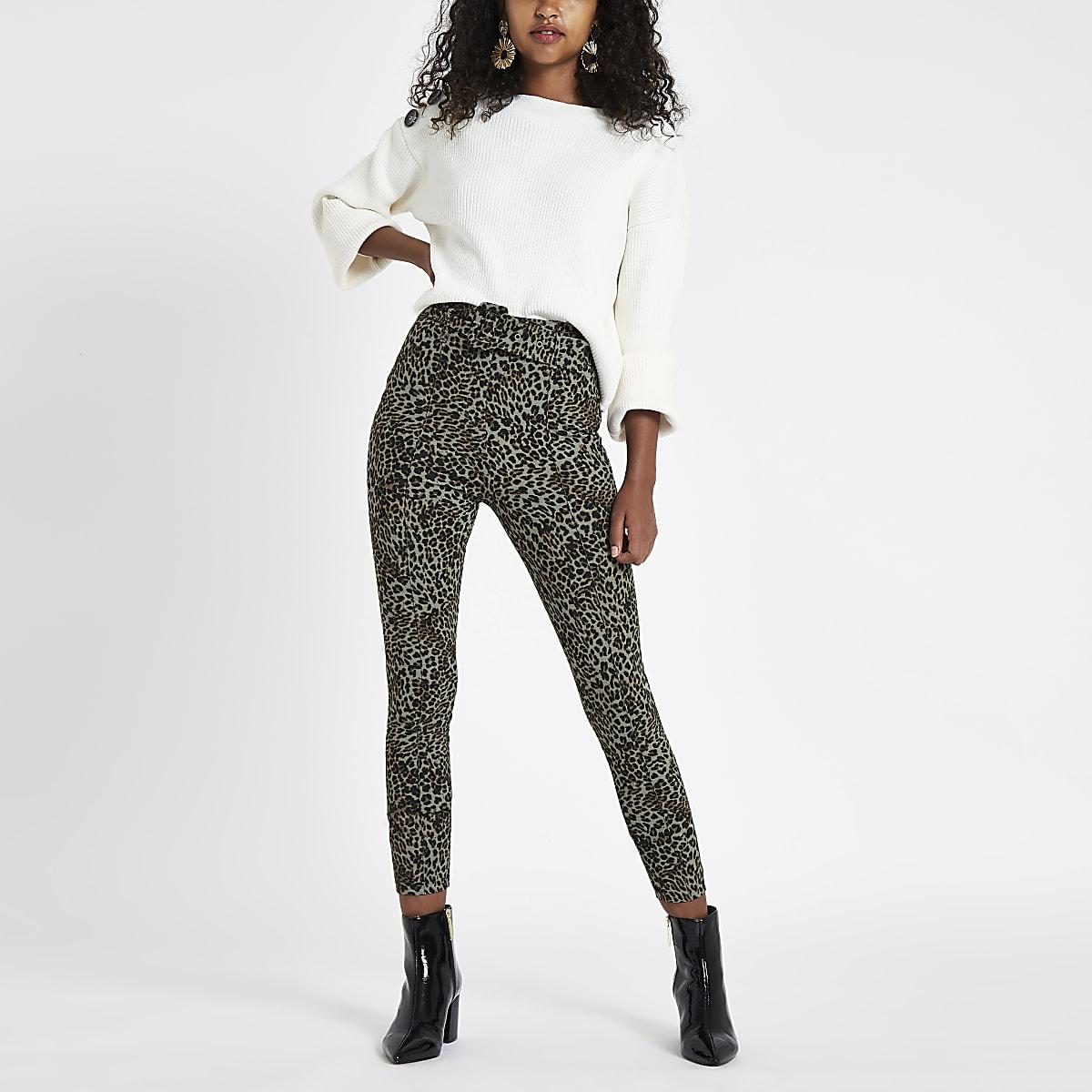 Brown leopard print belted ponte pants