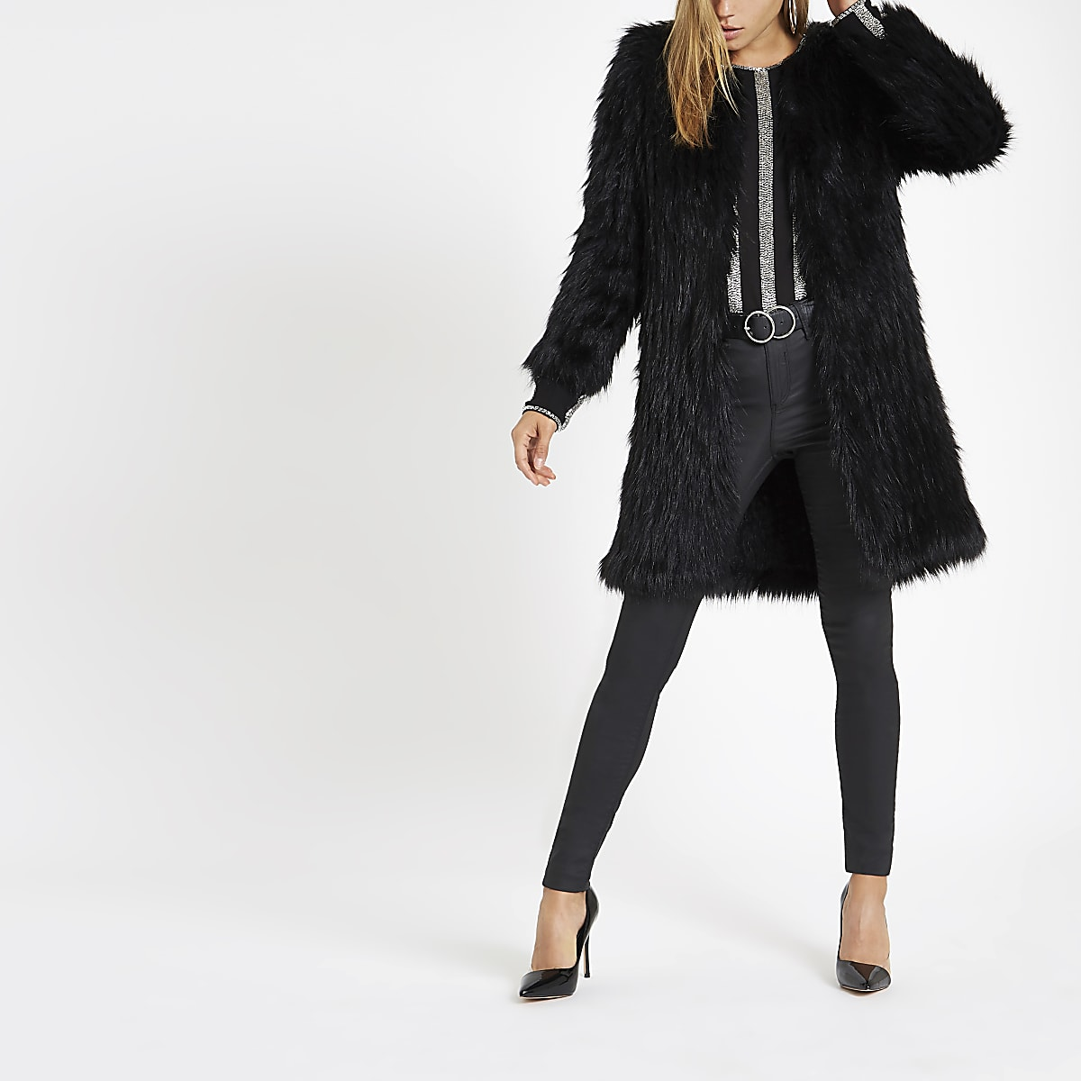 ed5cf56fe Black knit faux fur coat - Coats - Coats & Jackets - women