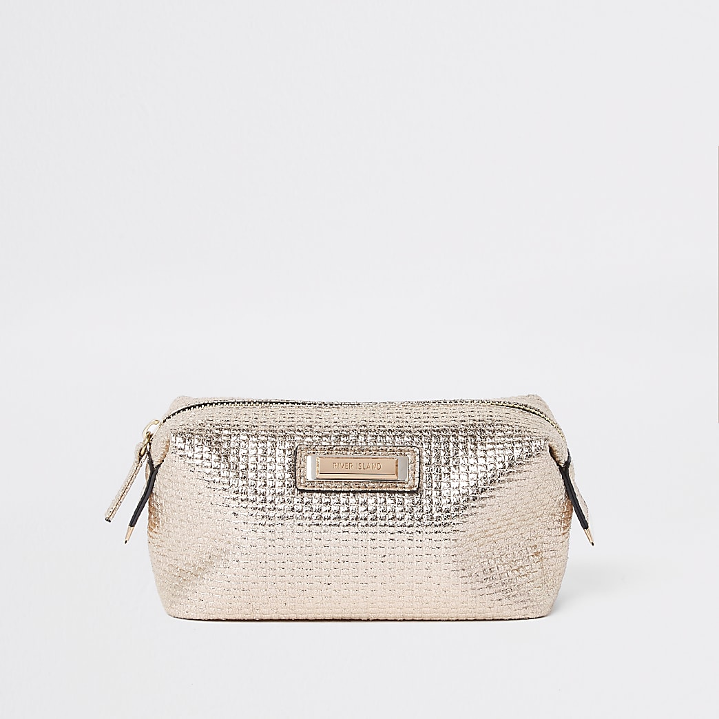 Gold metallic zip top makeup bag