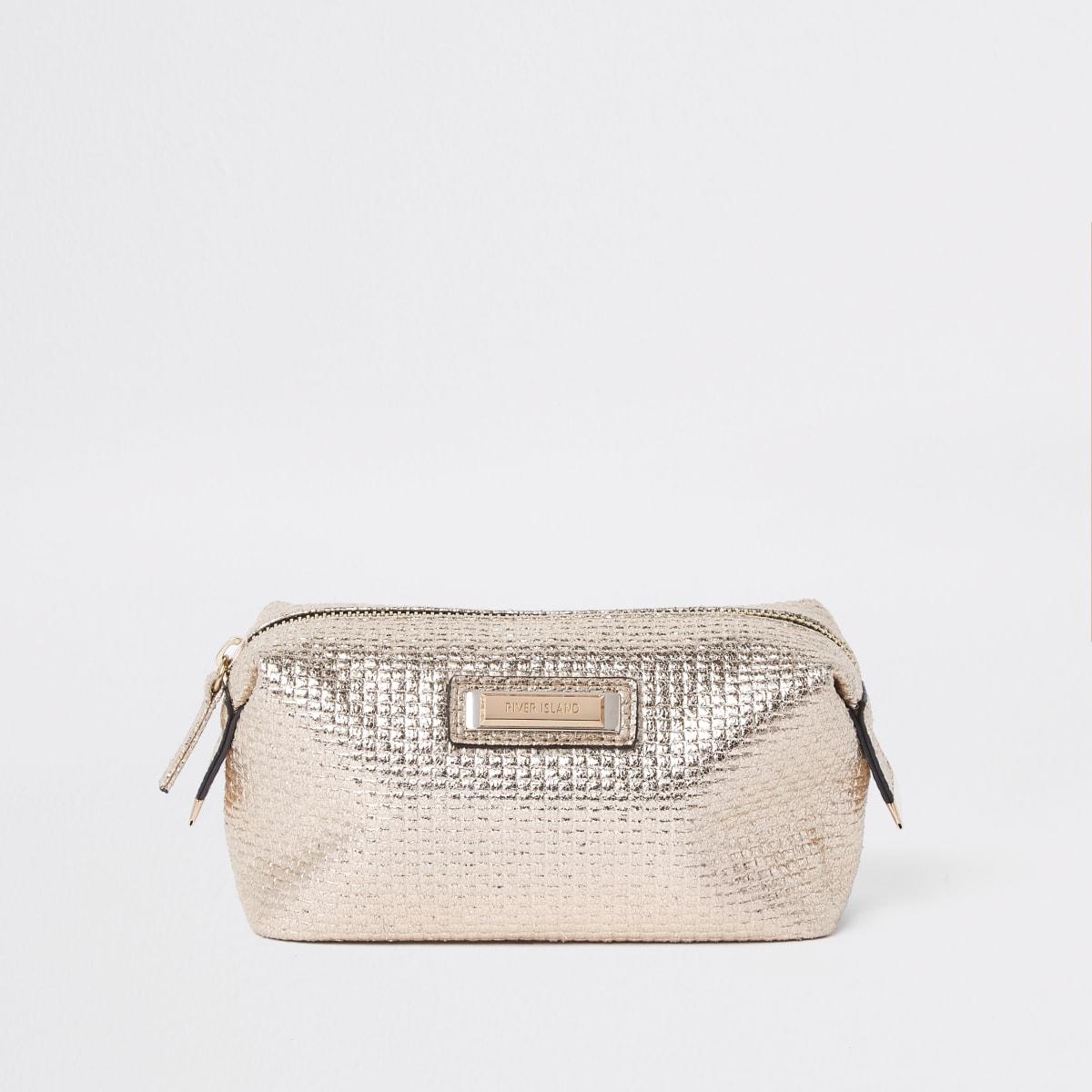 Gold metallic zip top makeup bag