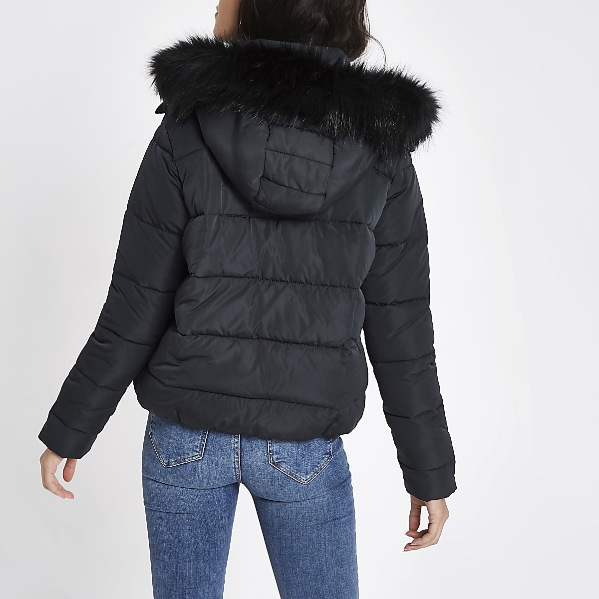 353ad2503d0 Navy padded faux fur hood puffer jacket - Jackets - Coats & Jackets ...