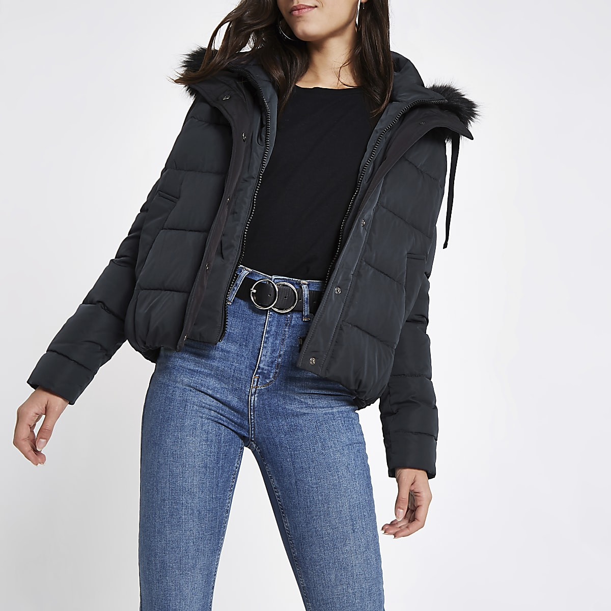 157ad7a18 Navy padded faux fur hood puffer jacket