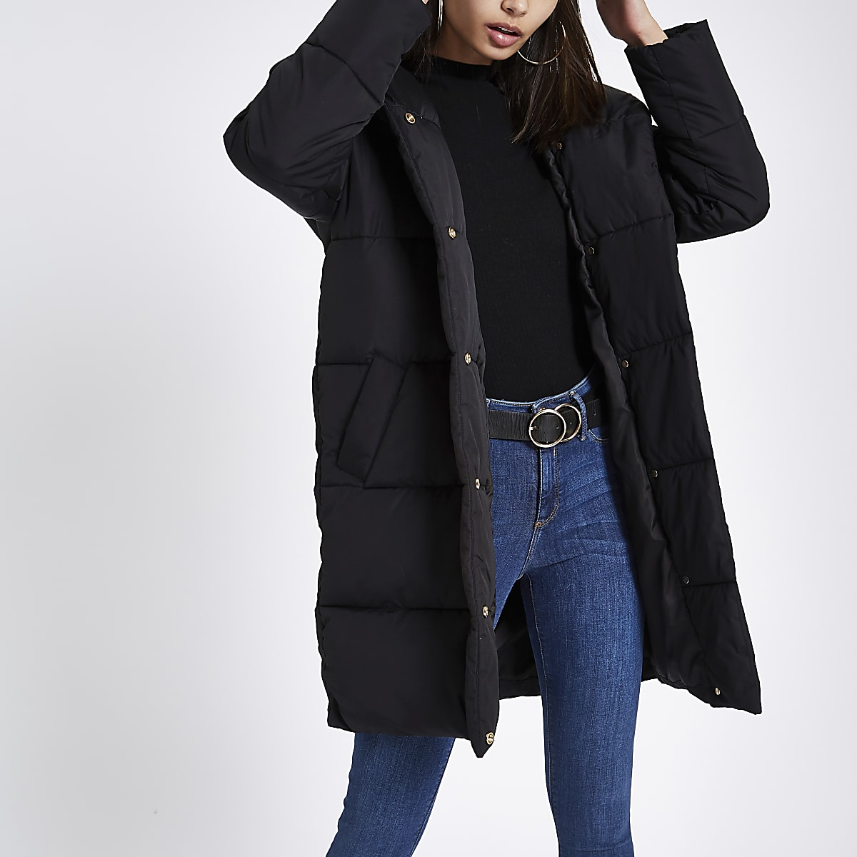 a6938d1531b Black asymmetric longline puffer jacket