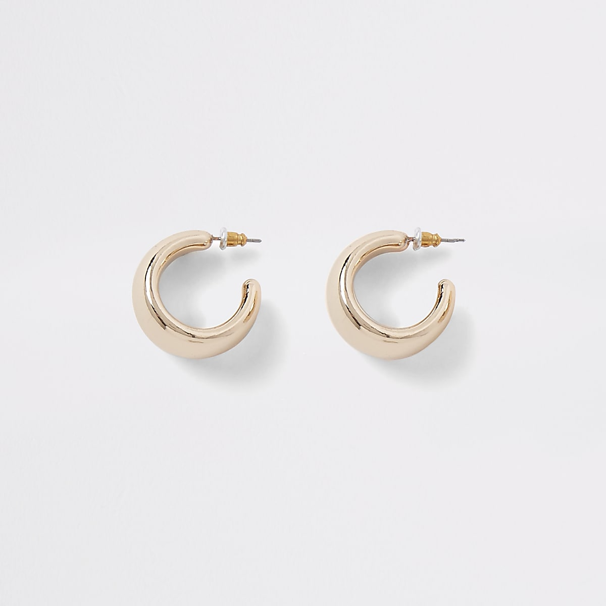 Gold colour chunky hoop stud earrings