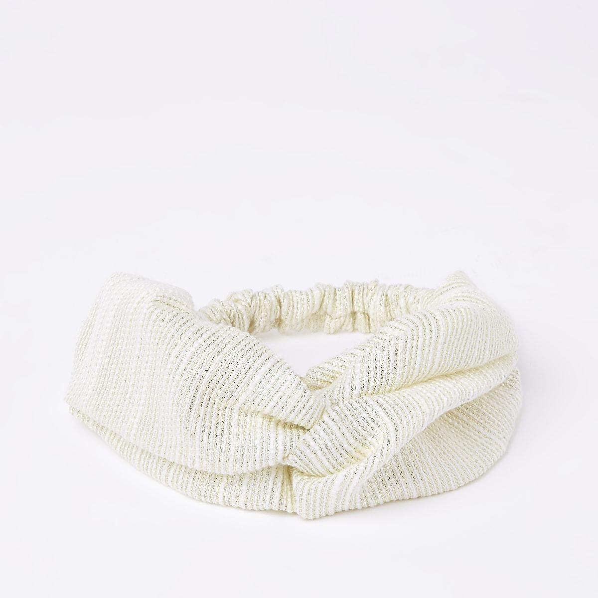 Cream metallic stitch wide twist headband