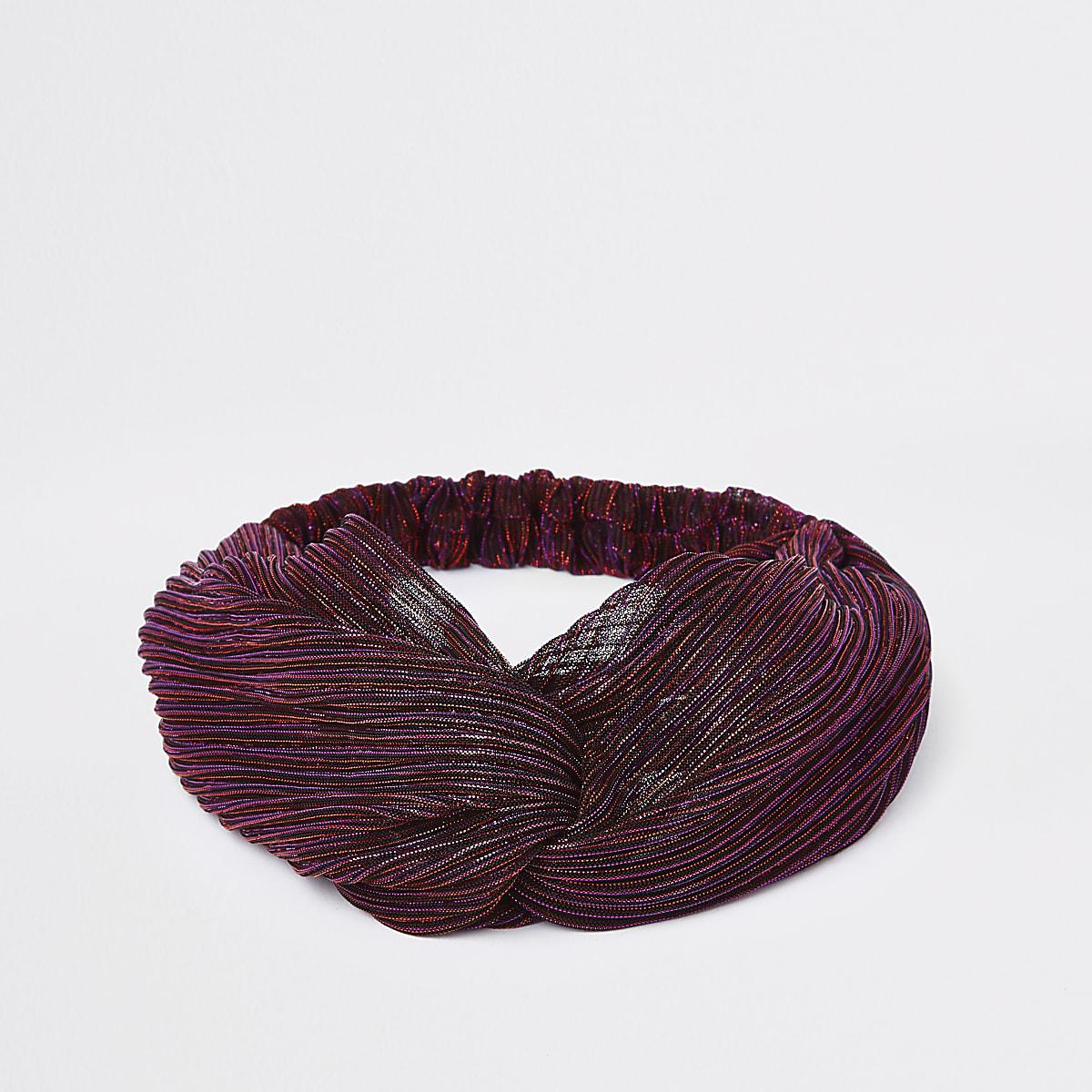 Pink metallic stitch twist headband