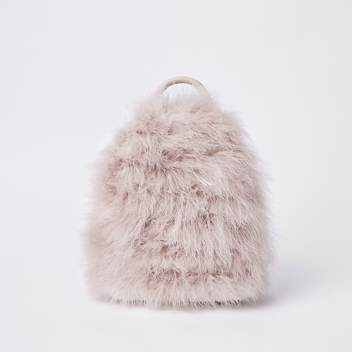 Light pink marabou faux fur backpack