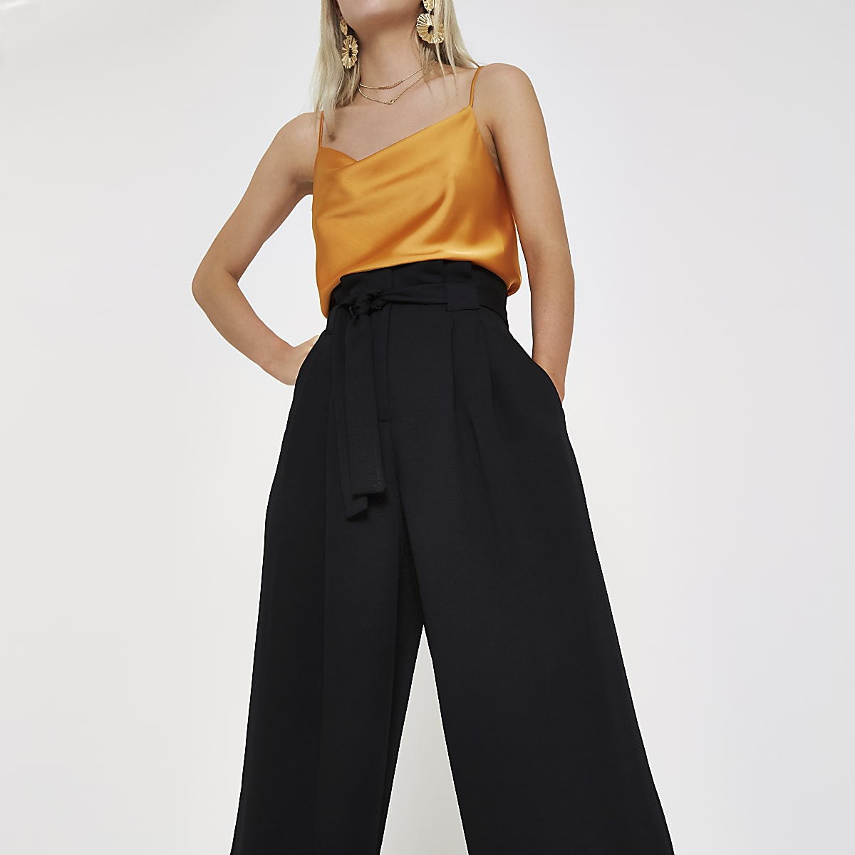 Petite black paperbag waist wide leg pants