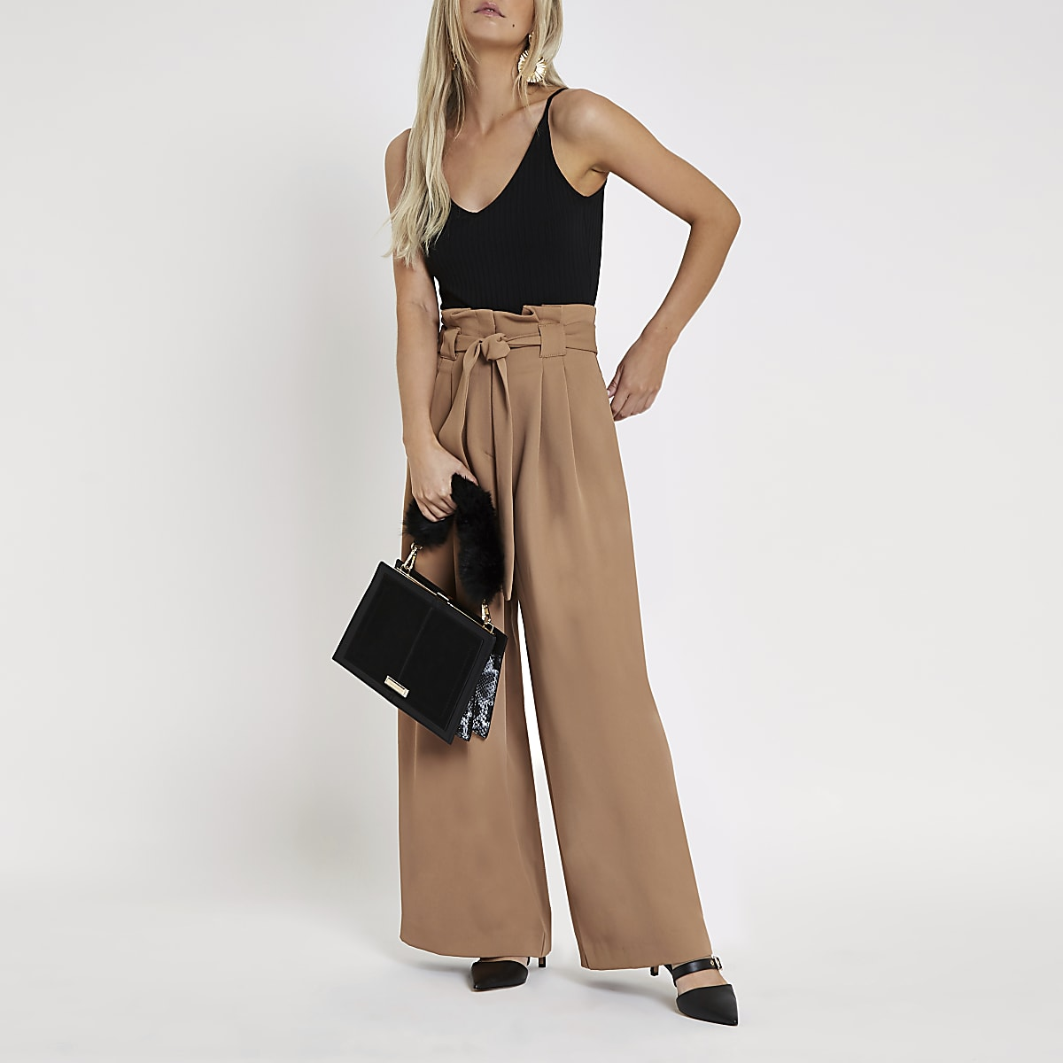 699c59242cbfdd Petite beige paperbag waist wide leg trousers - Wide Leg Trousers - Trousers  - women