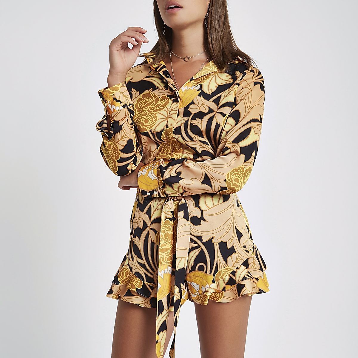 Yellow floral loose fit shirt