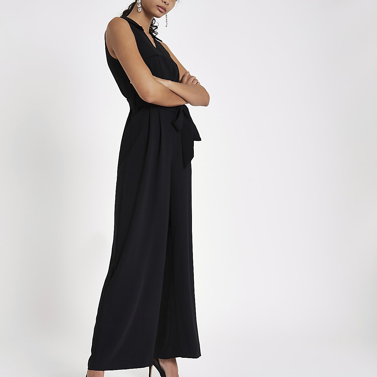 Black wrap tie front wide leg jumpsuit