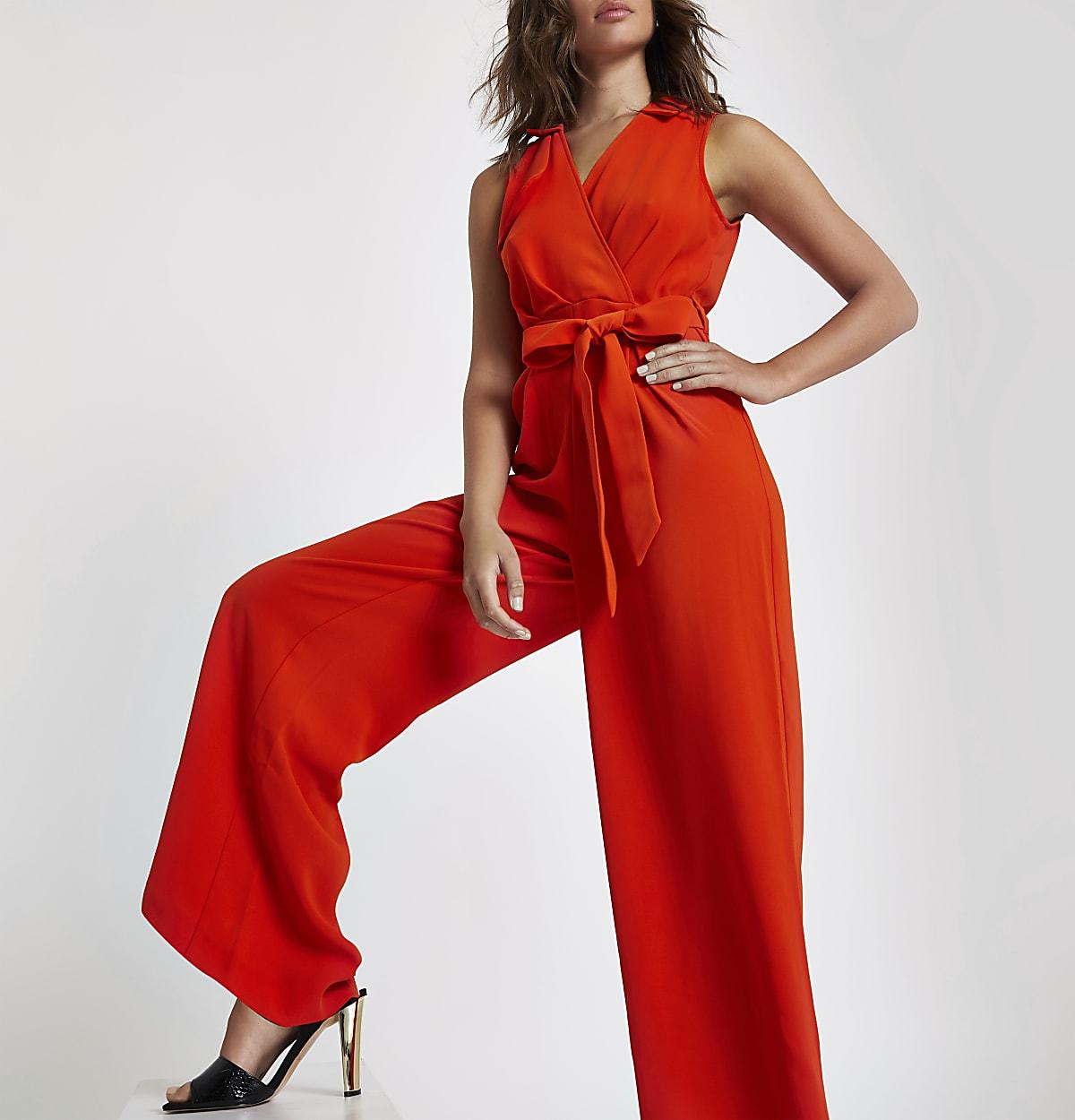 Red wrap tie front wide leg jumpsuit
