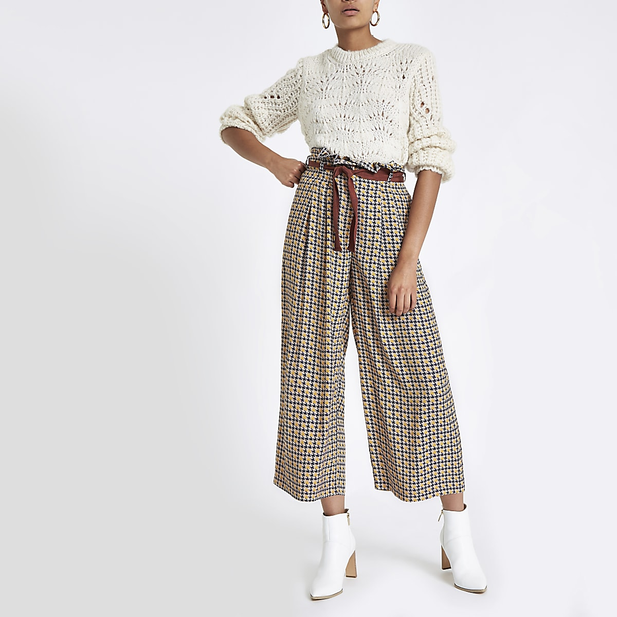 Brown houndstooth print wide leg belted pants