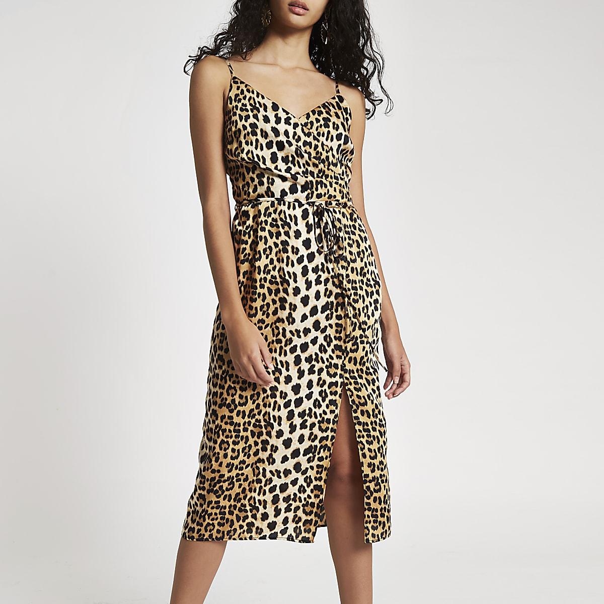 Black leopard print midi slip dress