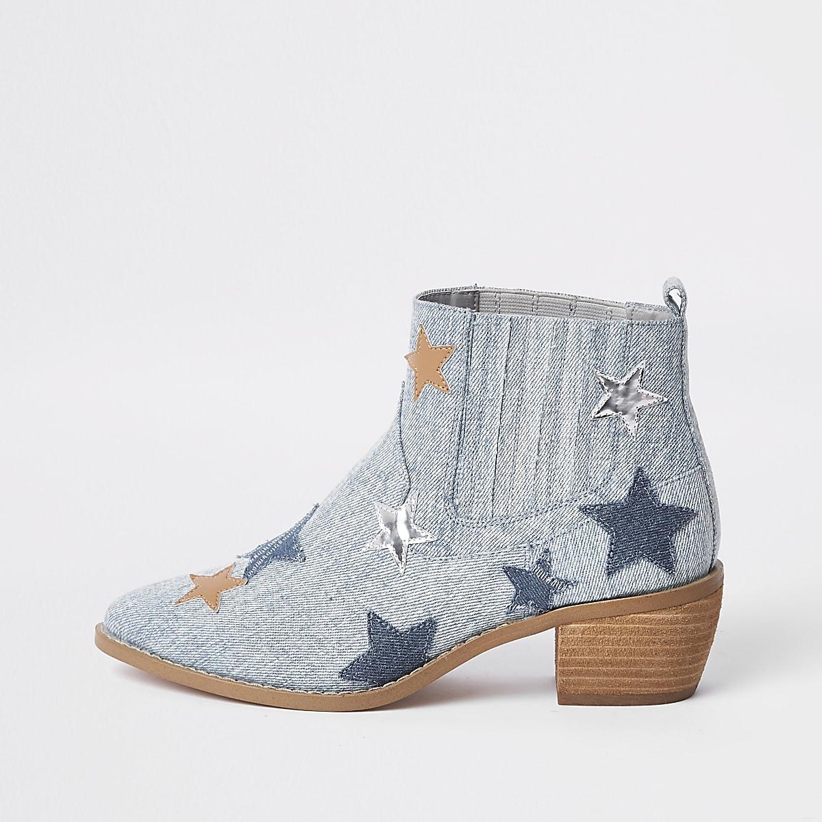 Light blue star print boot