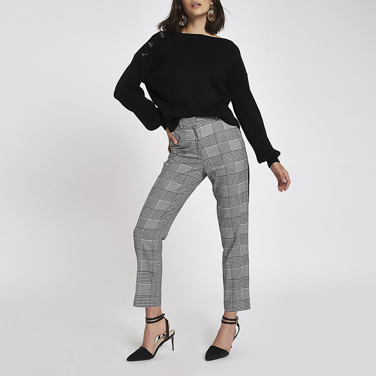 Black rib knit button shoulder jumper