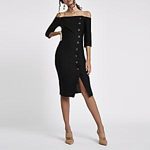 Black bardot button front bodycon midi dress