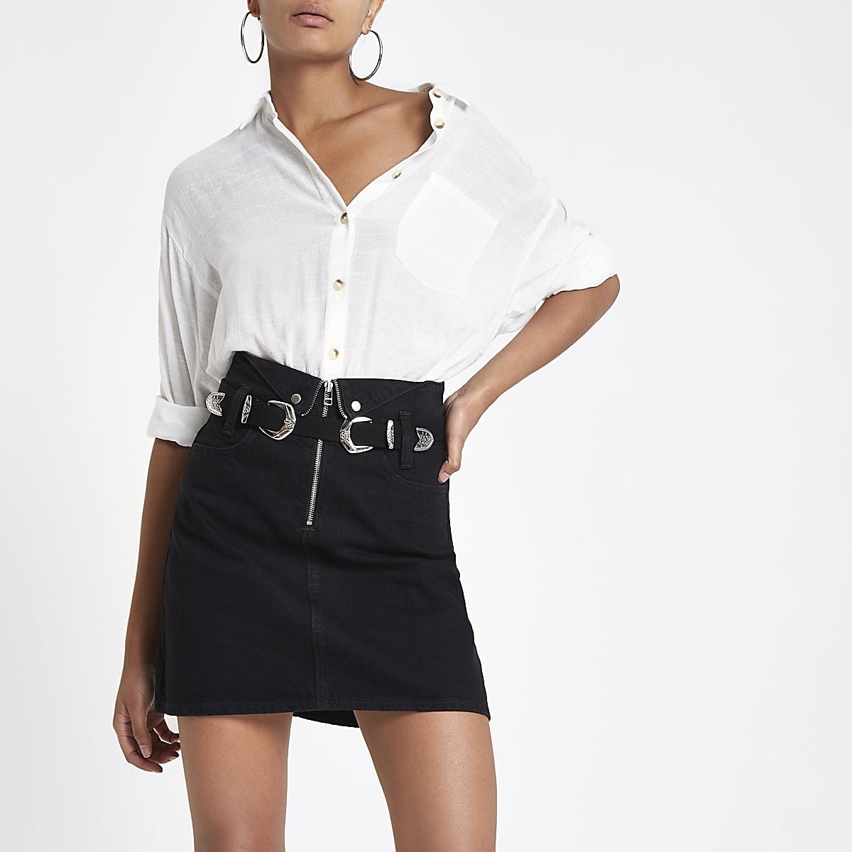 the best attitude f2b2b 66070 Black zip front mini denim skirt