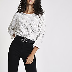 White sequin batwing top