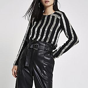 Black sequin stripe long sleeve top