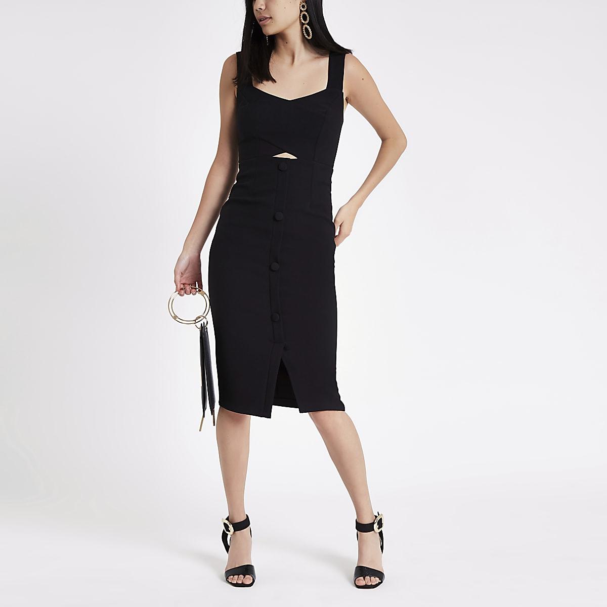 Robe moulante mi-longue noire boutonnée sur le devant