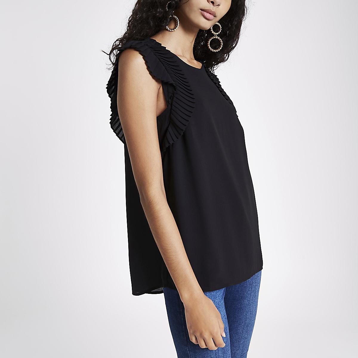 Black pleated shoulder top