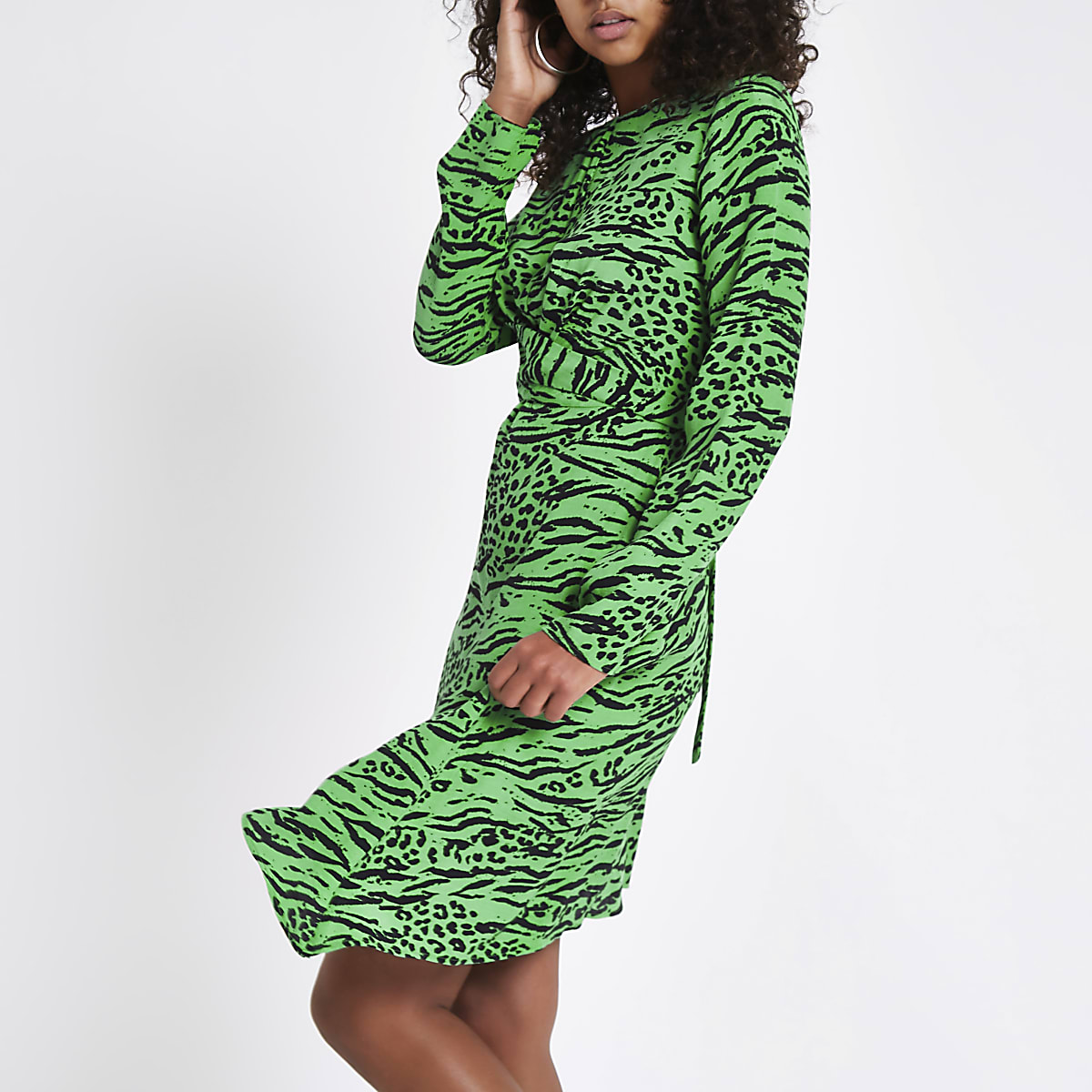 Green leopard print cross front midi dress