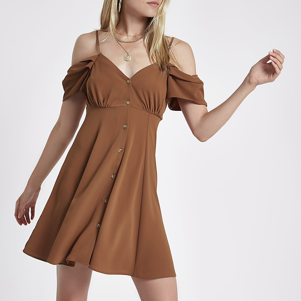Brown cold shoulder button through dress