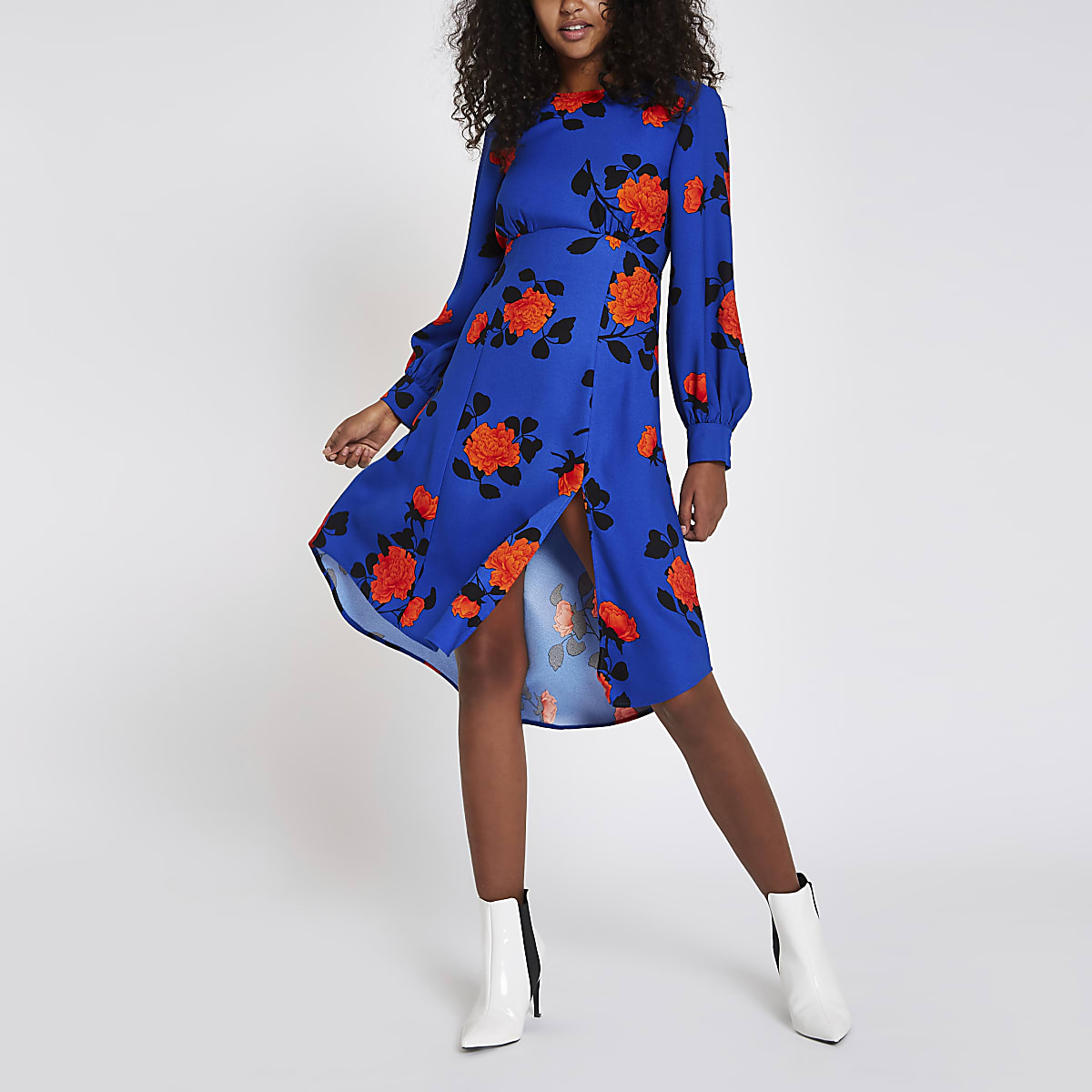 Blue floral print tie back midi dress