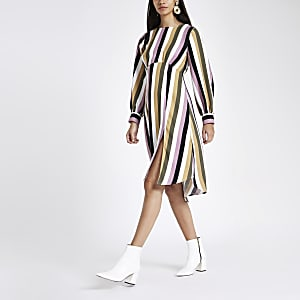 Pink stripe balloon sleeve midi dress