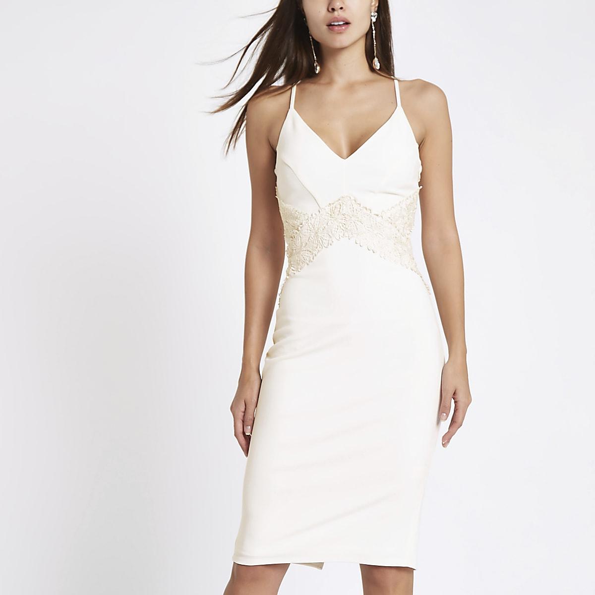White lace insert bodycon midi dress