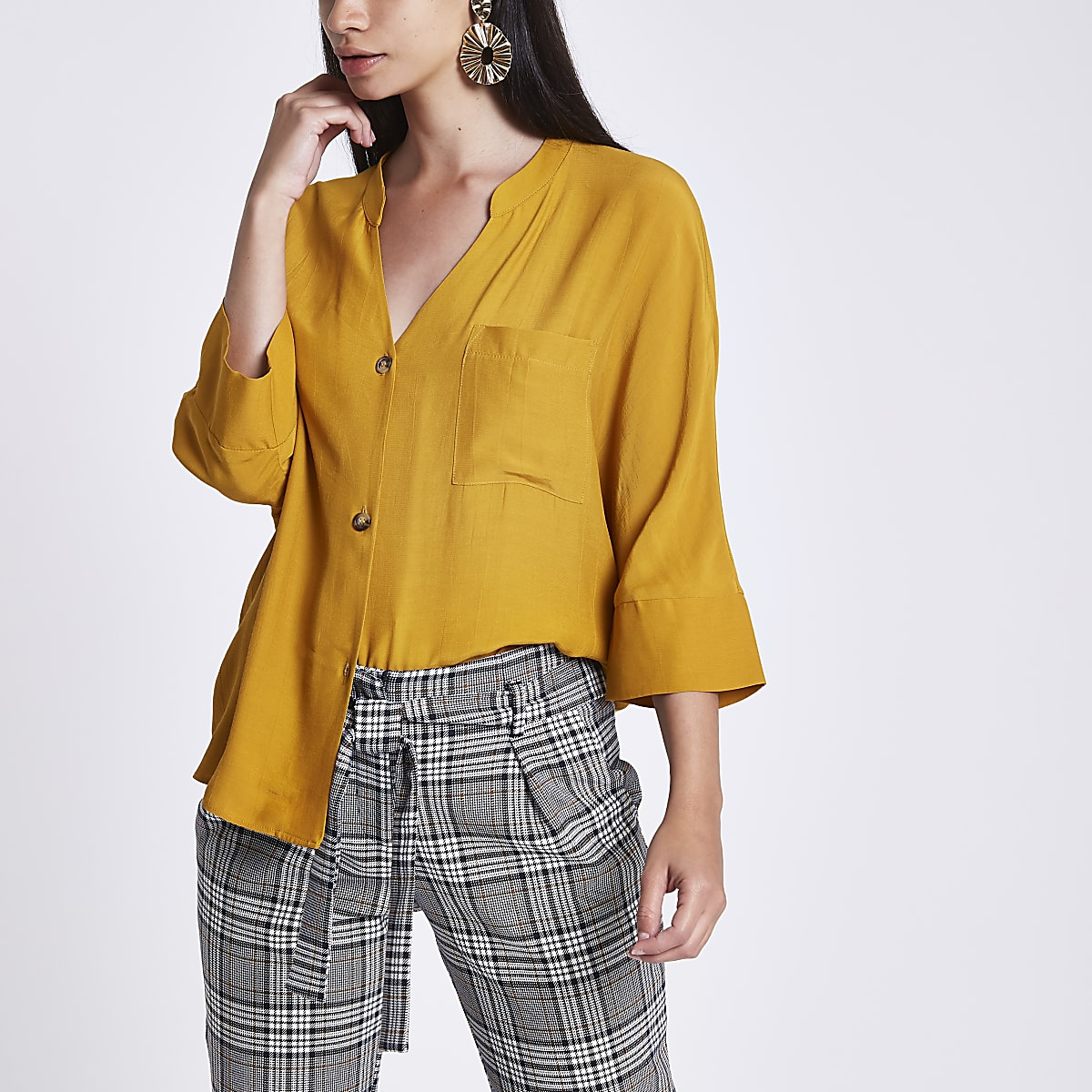 Mustard yellow loose fit button up blouse