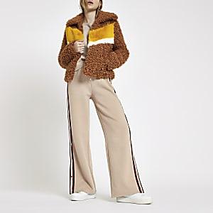 Light brown shearling fur color block jacket