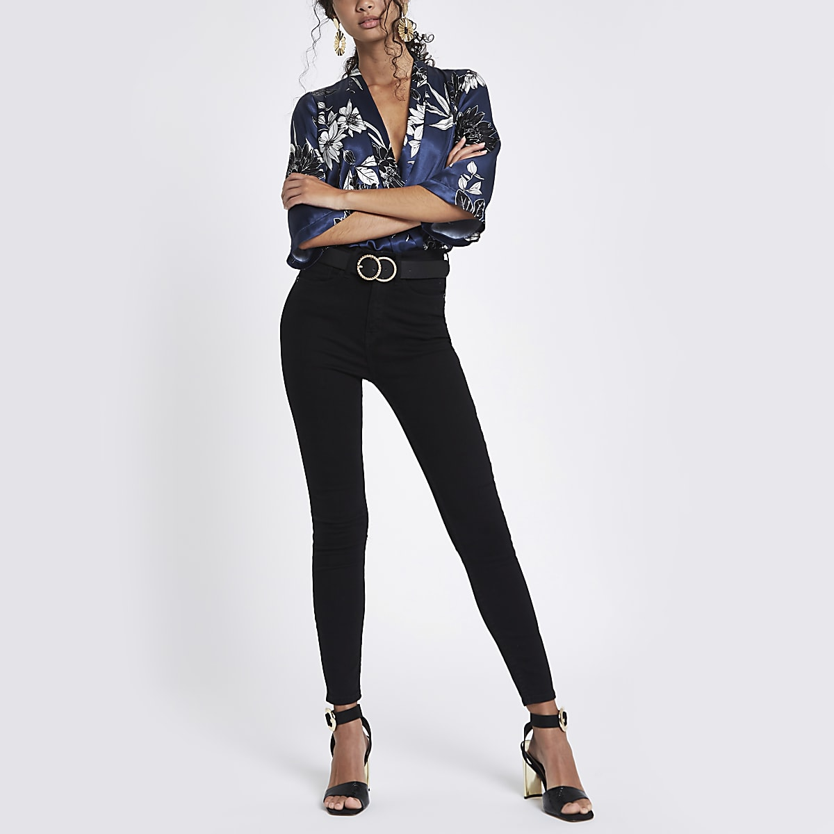 Navy floral print wrap front body