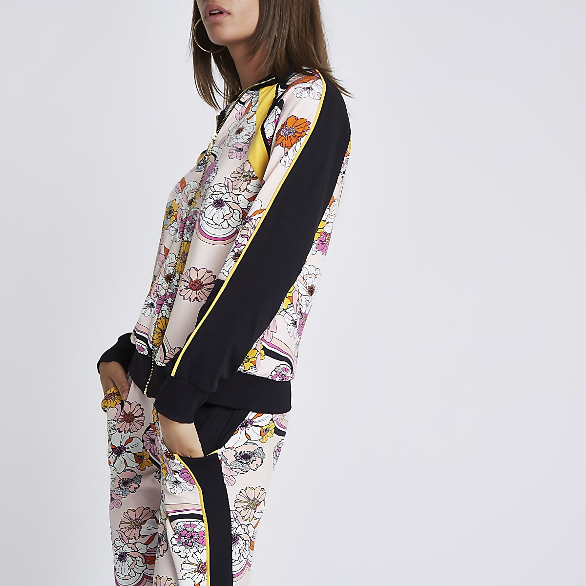 Pink floral zip through tracksuit top