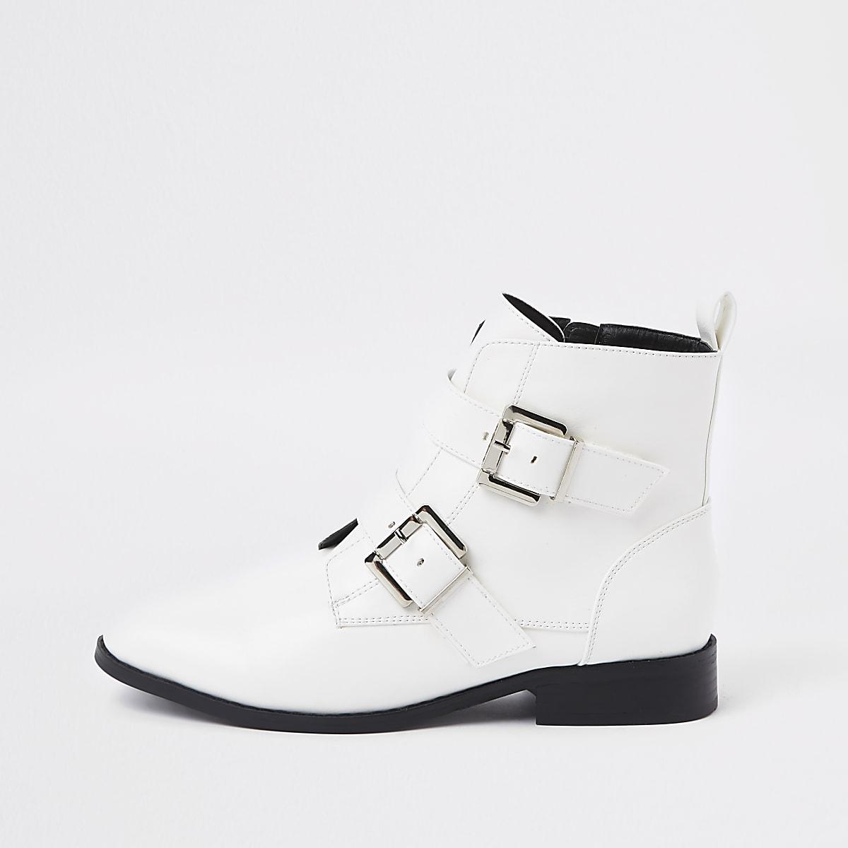 c38b5c7f754 White buckle wide fit biker boots White buckle wide fit biker boots ...