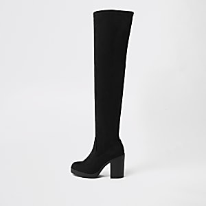 c1fa5d6671e Black wide fit chunky over the knee boots