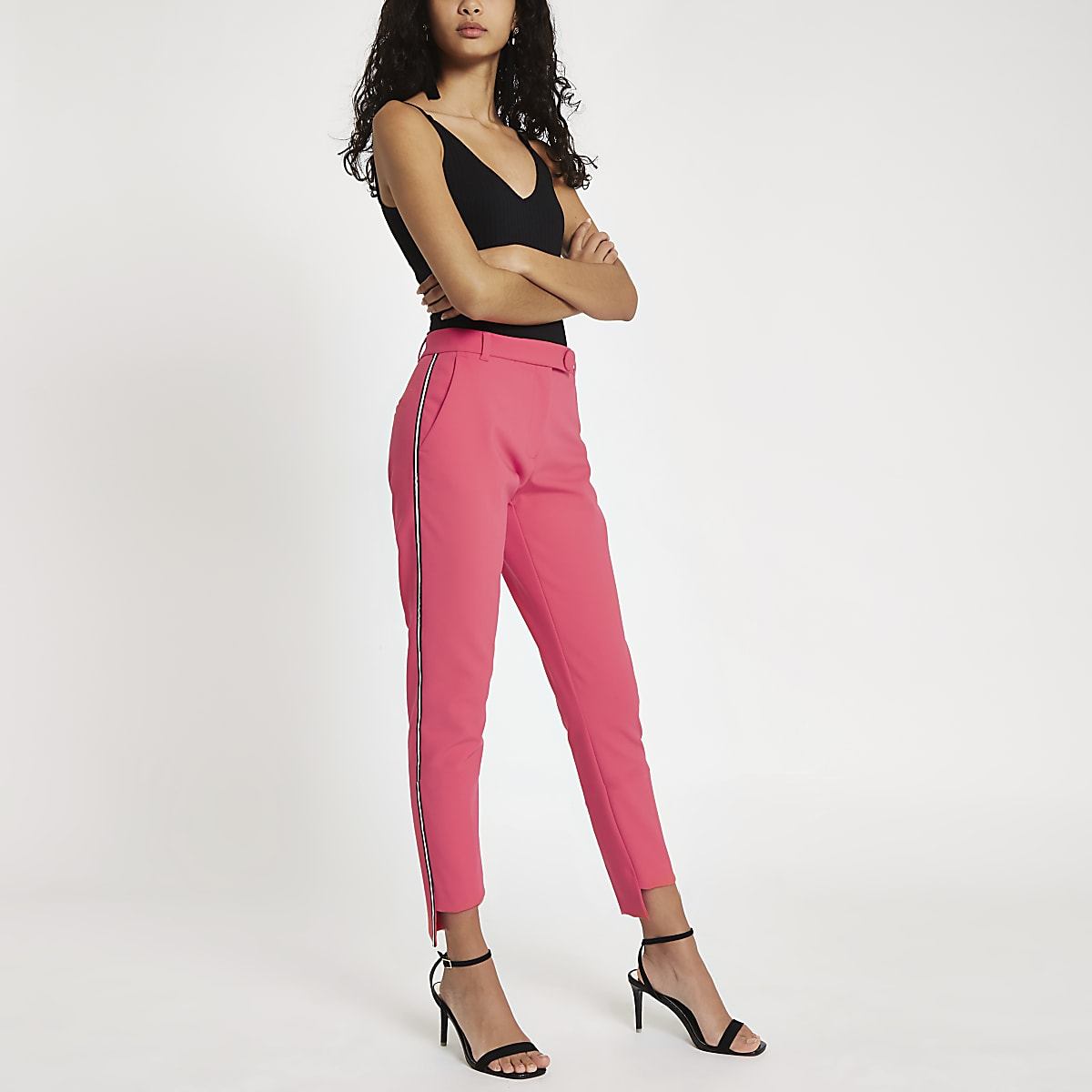 Pink side stripe cigarette trousers