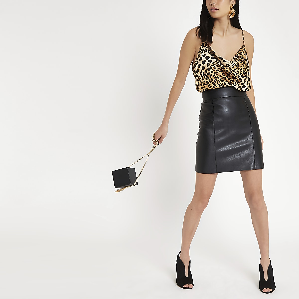 18f6143556 Black faux leather mini skirt - Mini Skirts - Skirts - women