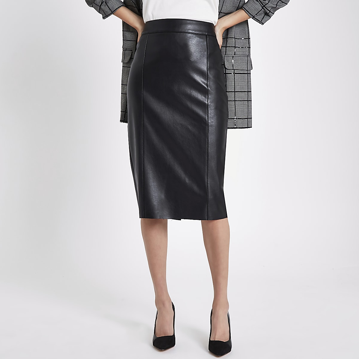 a06dee120 Black faux leather pencil skirt - Midi Skirts - Skirts - women